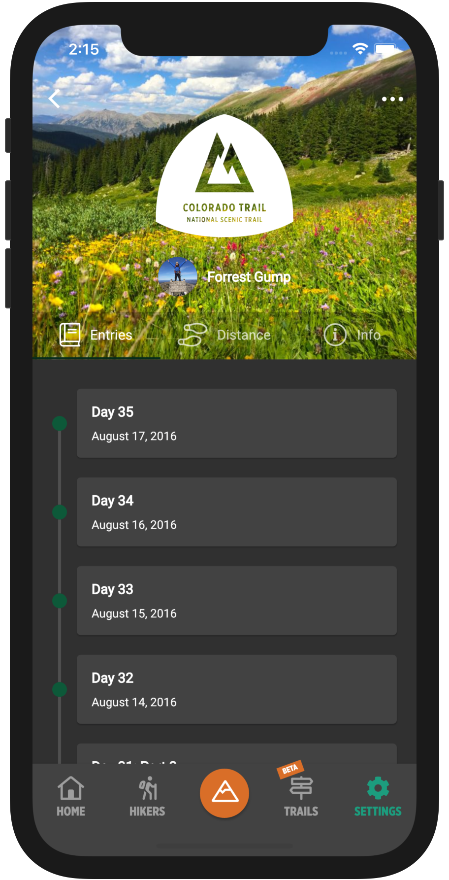 HikerFeed Mobile Screenshot - Hike Entries