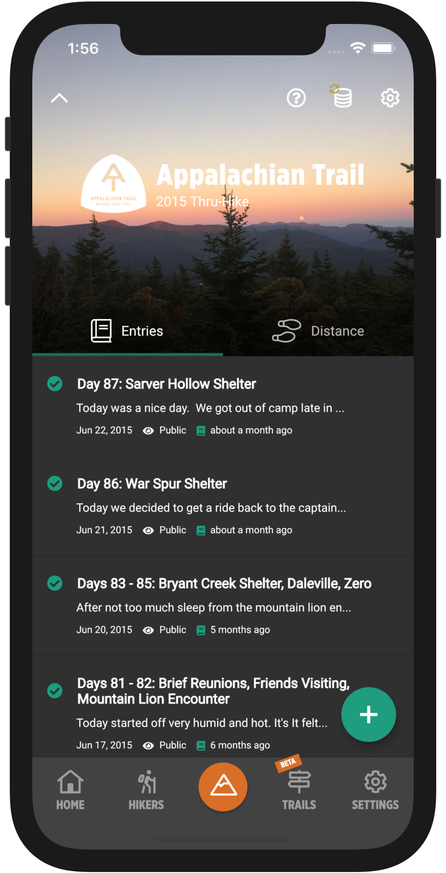 HikerFeed Mobile Screenshot - Hikes Home Page