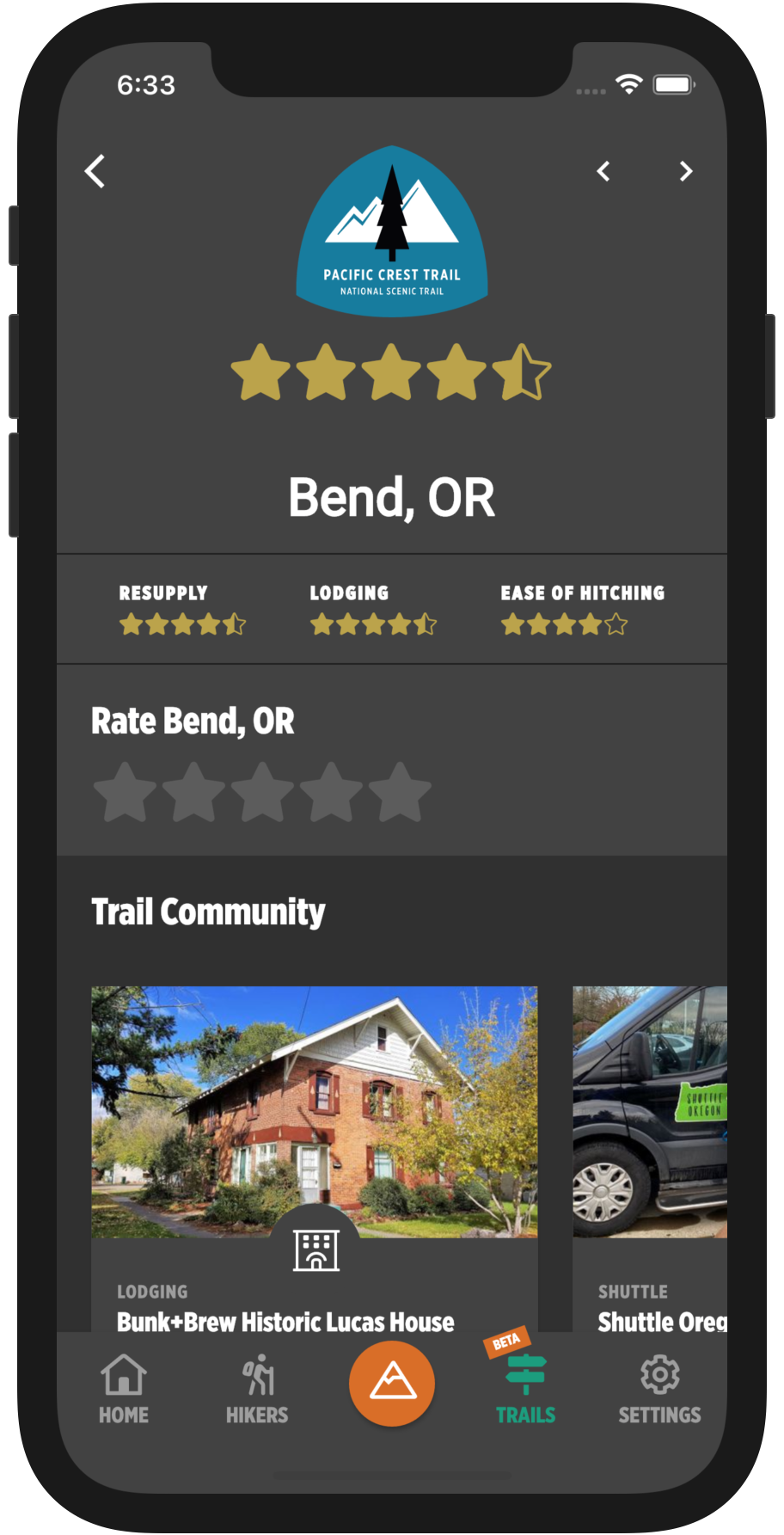 HikerFeed Mobile Screenshot - Town Page