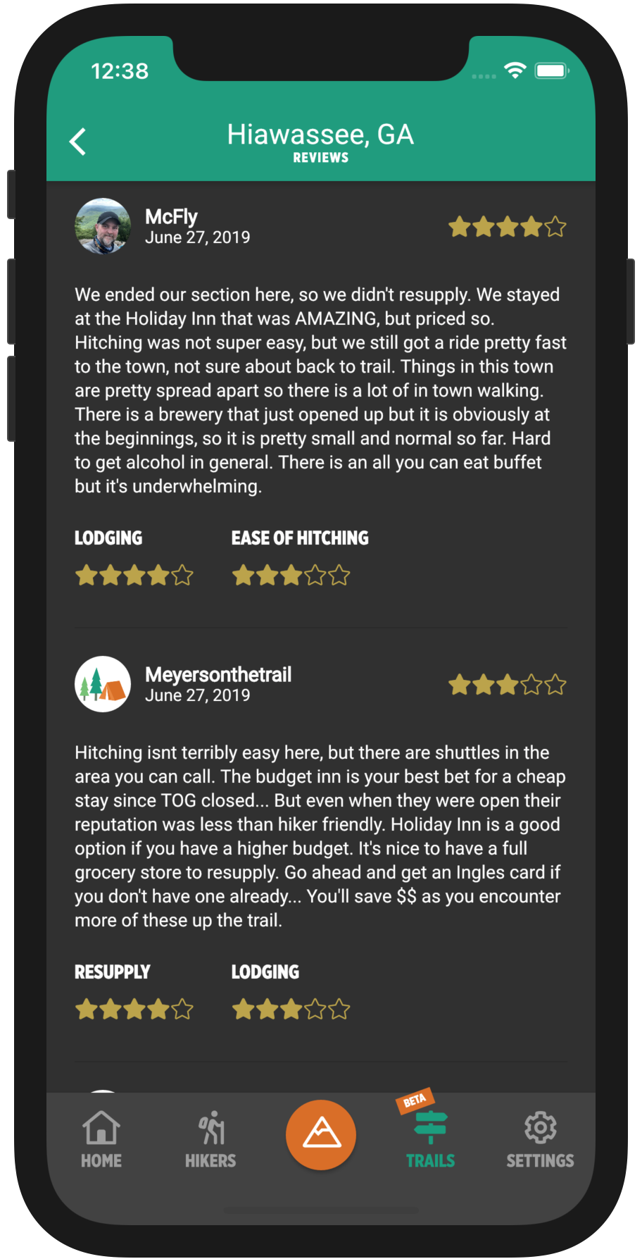 HikerFeed Mobile Screenshot - Town Reviews
