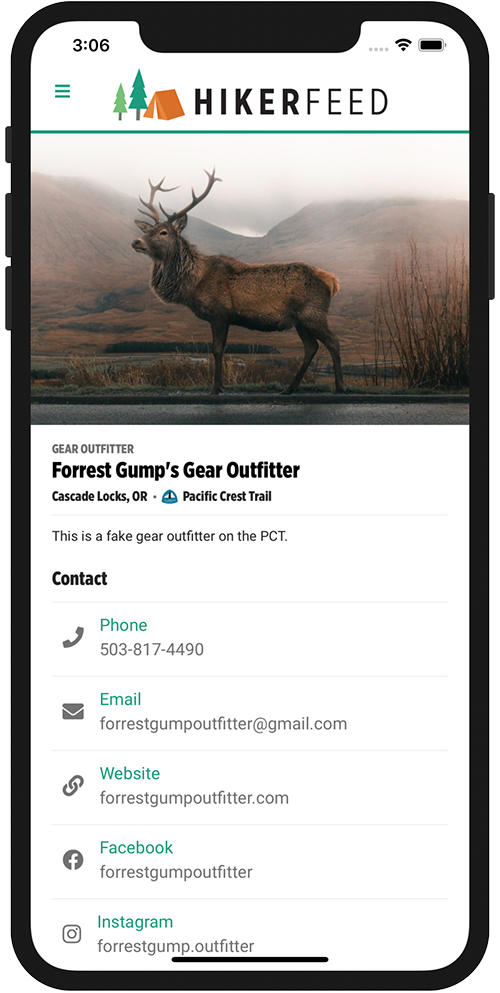 HikerFeed Mobile Screenshot - Vendor Page
